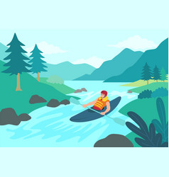 Man kayaking vector
