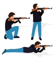 Man shooting rifle gun weapon position shot action vector