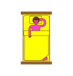 man sleeping in bed pillow and blanket guy sleep vector image