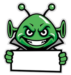 Martian green mascot hold a sign vector