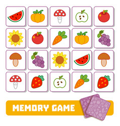 memory game for children cards with fruits and vector image