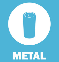 Metal waste sorting sign banner with tin can vector