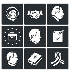 Minsk agreement icons set vector
