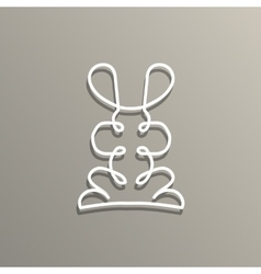 Modern logo in linear design with rabbit vector