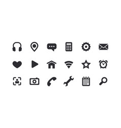 Monochrome icons for the web full set vector