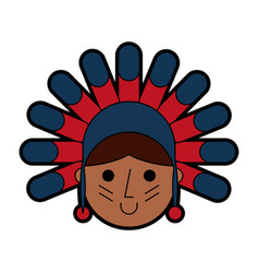 Native american character icon vector
