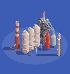 Oil refinery plant composition vector