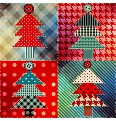 Patchwork with the Christmas tree vector