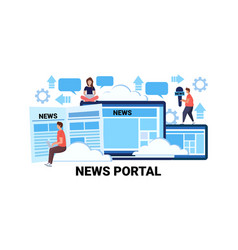 people working news portal concept social media vector image