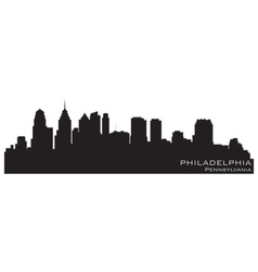 Philadelphia Pennsylvania skyline Detailed silhoue vector