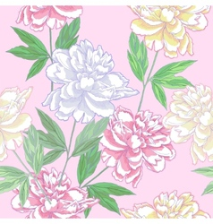 Pink Seamless pattern with peonies vector