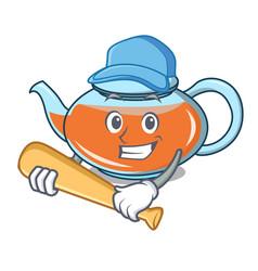 playing baseball transparent teapot character vector image