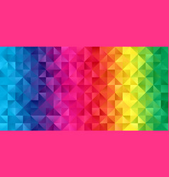 Rainbow coloured low poly banner design vector