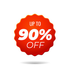 Red sticker up to 90 percent off vector