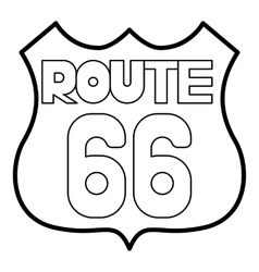 Route 66 shield icon outline style vector