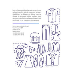 school uniform article page template pupils vector image