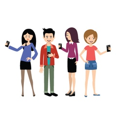 Selfie people set on the white background vector