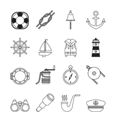 set black line yachting and sailing icons vector image