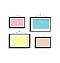 Set empty frames for photos or pictures hanging on vector