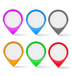 set multi-colored map markers vector image