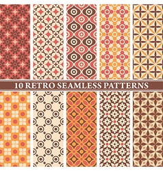 set of 10 retro seamless patterns vector image
