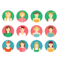 Set of girls and young women avatars vector