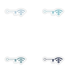 Set of paper sticker on white background Wi fi key vector