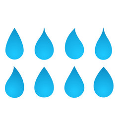 set of water drop silhouettes vector image