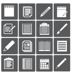 set paper documents and pencils icons vector image