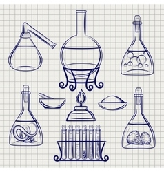 Sketch of science lab equipment vector