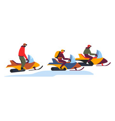 snowmobile tour on winter snowy slopes on white vector image