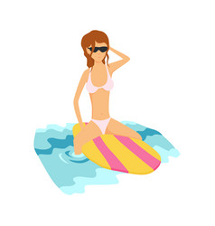 summer surfing of girl or vector image