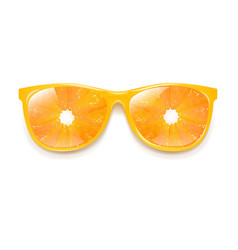 Sunglasses with orange and white background vector