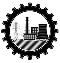 The logo is industrial thermal and nuclear power vector
