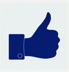 thumb up icon on lined paper background vector image