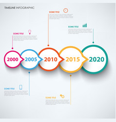 time line info graphic with round design pointers vector image