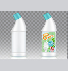 Toilet cleaner bottle packaging mockup set vector