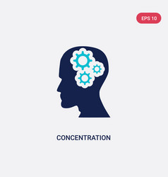 Two color concentration icon from brain process vector