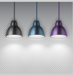 Vintage hang chrome electric ceiling lamps office vector