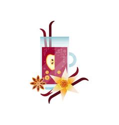 Vitamin healthy herbal tea spicy drink with apple vector