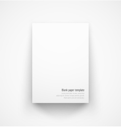 White paper template mock-up with drop shadow vector image