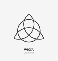Wiccan trefoil flat line icon wicca magic sign vector