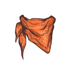 Wild west cowboy bandana or vintage scarf cartoon vector