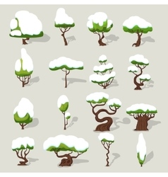 Winter Snowbound Trees Collection vector image