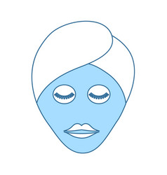 Woman head with moisturizing mask icon vector