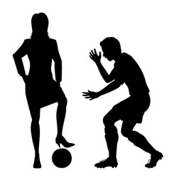 woman puncturing football silhouette vector image