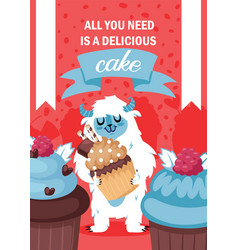 yeti character eating cake poster vector image