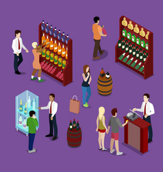 alcohol shop interior with wine bottles customers vector image