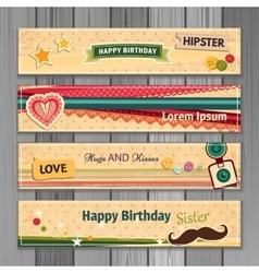 Banner happy birthday vector image vector image