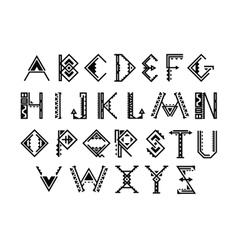 Ethnic font native american indian alphabet vector